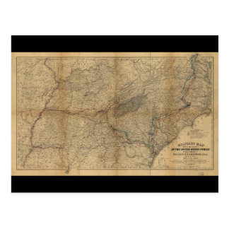 William T. Sherman Marches Military Map 1863 64 65 Postcard