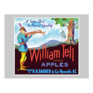 William Tell Apples Vintage Label Postcards