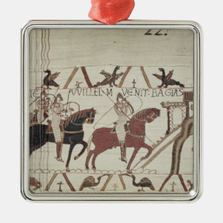 William the Conqueror  arrives at Bayeux Silver-Colored Square Decoration