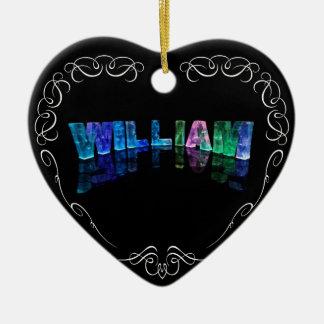 William  - The Name William in 3D Lights (Photogra Ceramic Heart Decoration