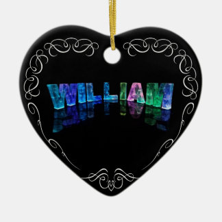William  - The Name William in 3D Lights (Photogra Christmas Ornament