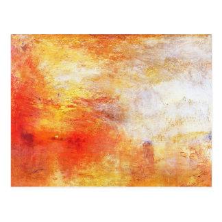 William Turner Sun Setting Over A Lake Romanticism Postcard