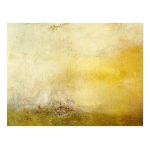 william turner - sunrise with sea monsters postcard