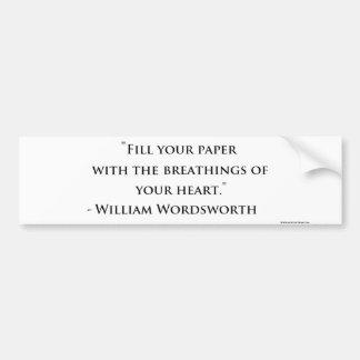 William Wordsworth Quote Bumper Sticker Car Bumper Sticker