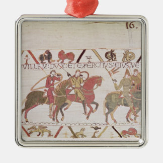 William's  army going to Mont Saint-Michel Silver-Colored Square Decoration