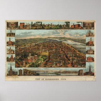 Williams map of Harrisburg, PA (1855) reprint Poster