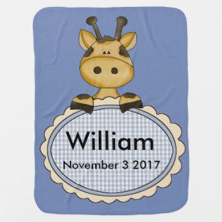 William's Personalized Giraffe Baby Blanket