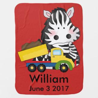 William's Personalized Zebra Baby Blanket