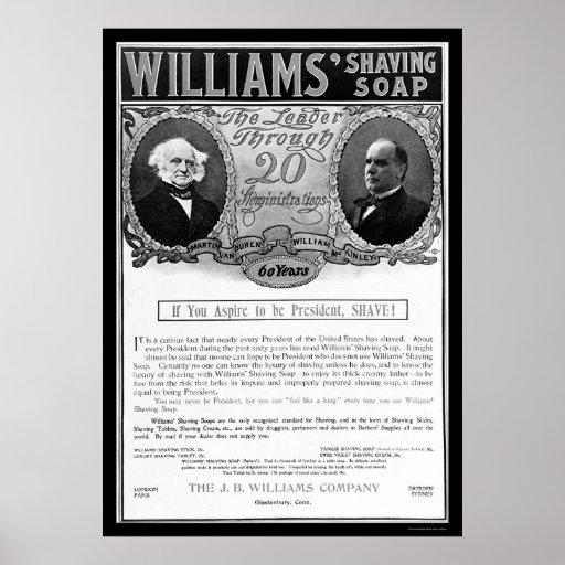Williams Shaving Soap Ad 1901 Poster