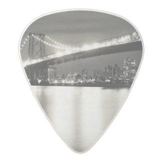 Williamsburg bridge in New York City at night Acetal Guitar Pick