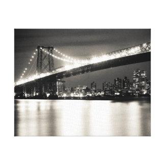 Williamsburg bridge in New York City at night Canvas Print