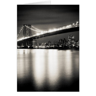 Williamsburg bridge in New York City at night Card