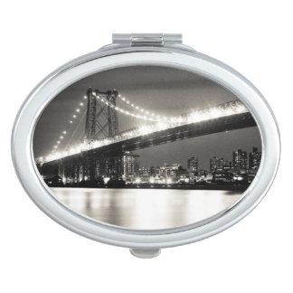 Williamsburg bridge in New York City at night Compact Mirrors