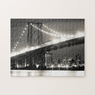 Williamsburg bridge in New York City at night Jigsaw Puzzle