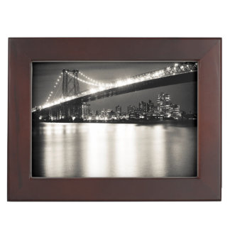 Williamsburg bridge in New York City at night Keepsake Box