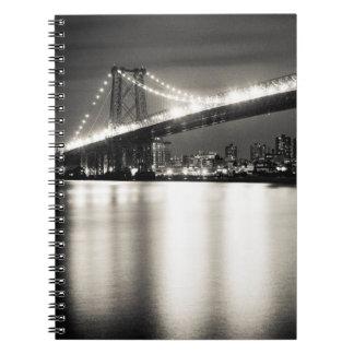 Williamsburg bridge in New York City at night Notebook