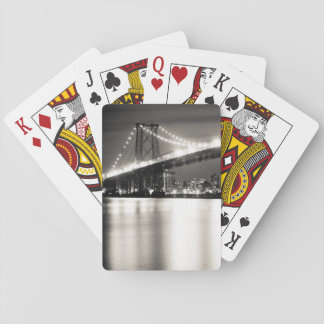 Williamsburg bridge in New York City at night Playing Cards