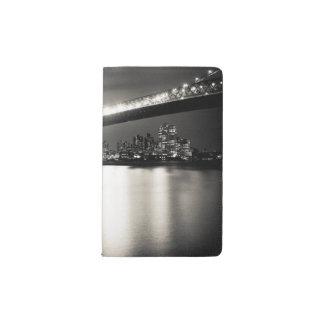 Williamsburg bridge in New York City at night Pocket Moleskine Notebook