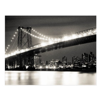 Williamsburg bridge in New York City at night Postcard