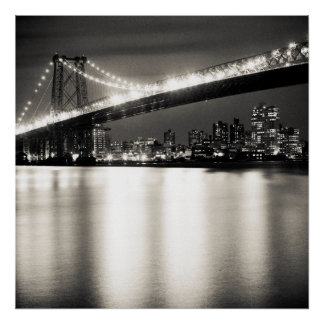 Williamsburg bridge in New York City at night Poster
