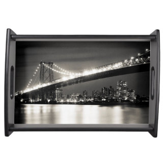 Williamsburg bridge in New York City at night Serving Tray