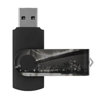 Williamsburg bridge in New York City at night USB Flash Drive
