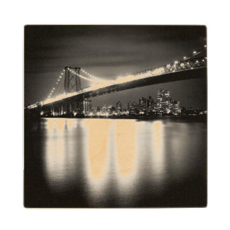 Williamsburg bridge in New York City at night Wood Coaster