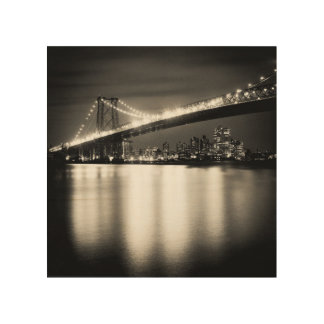 Williamsburg bridge in New York City at night Wood Print