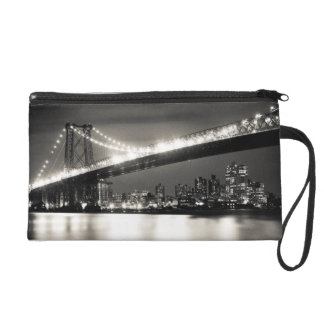 Williamsburg bridge in New York City at night Wristlet Purses