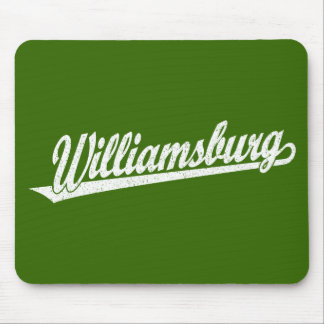Williamsburg script logo in white distressed mouse pad