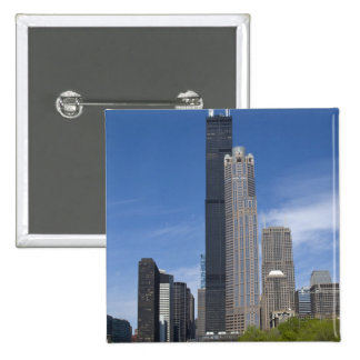 Willis Tower (previously the Sears Tower) looms 15 Cm Square Badge