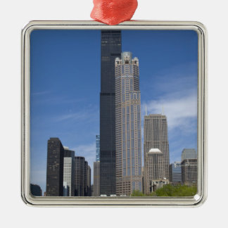 Willis Tower (previously the Sears Tower) looms Silver-Colored Square Decoration