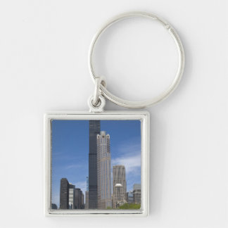 Willis Tower (previously the Sears Tower) looms Silver-Colored Square Key Ring