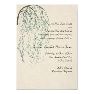 Willow Branch in Brown and Teal Linen Invitation