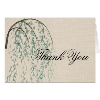 Willow Branch on Linen Thank You Greeting Card