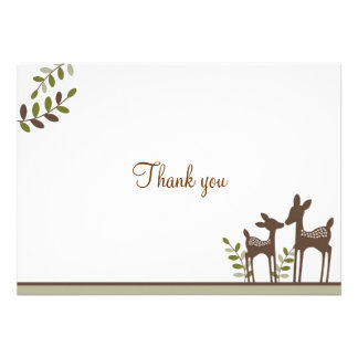 Willow Deer Forest Neutral Thank You Note Cards Custom Invitations