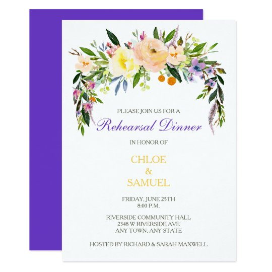 Willow Floral Wedding Rehearsal Dinner Invitation