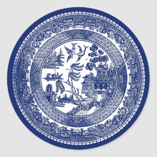 Willow Pattern Classic Round Sticker