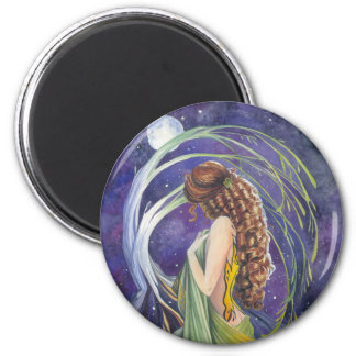 Willow, The Moon and Night 6 Cm Round Magnet