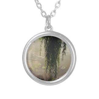 willow tree and lily pads silver plated necklace