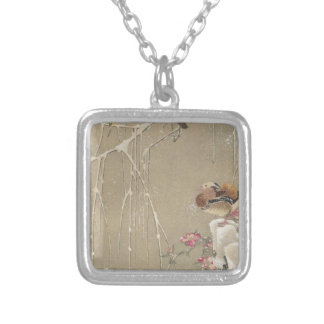 Willow Tree and Mandarin Ducks in the Snow by Square Pendant Necklace