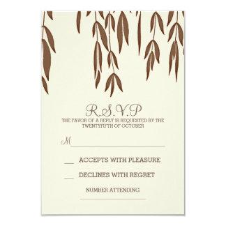 Willow tree branches elegant wedding RSVP card 9 Cm X 13 Cm Invitation Card