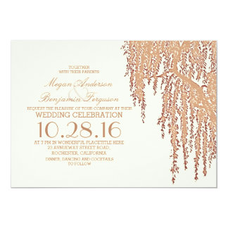 Willow tree elegant outdoor wedding invitations