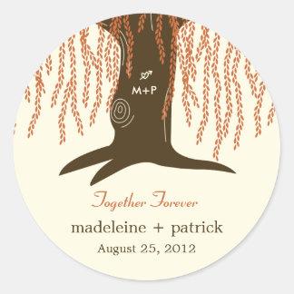 Willow Tree Fall Wedding Favor Sticker