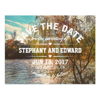 Willow Tree River Stylish Save the Date Postcard