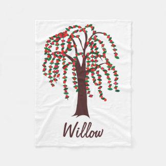 Willow Tree with Hearts - Customizable Fleece Blanket