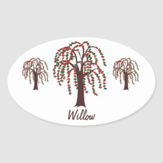Willow Tree with Hearts - Customizable Oval Sticker