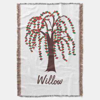 Willow Tree with Hearts - Customizable Throw Blanket