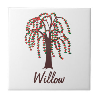 Willow Tree with Hearts - Customizable Small Square Tile