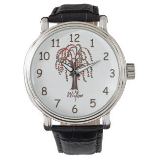 Willow Tree with Hearts - Customizable Wrist Watch